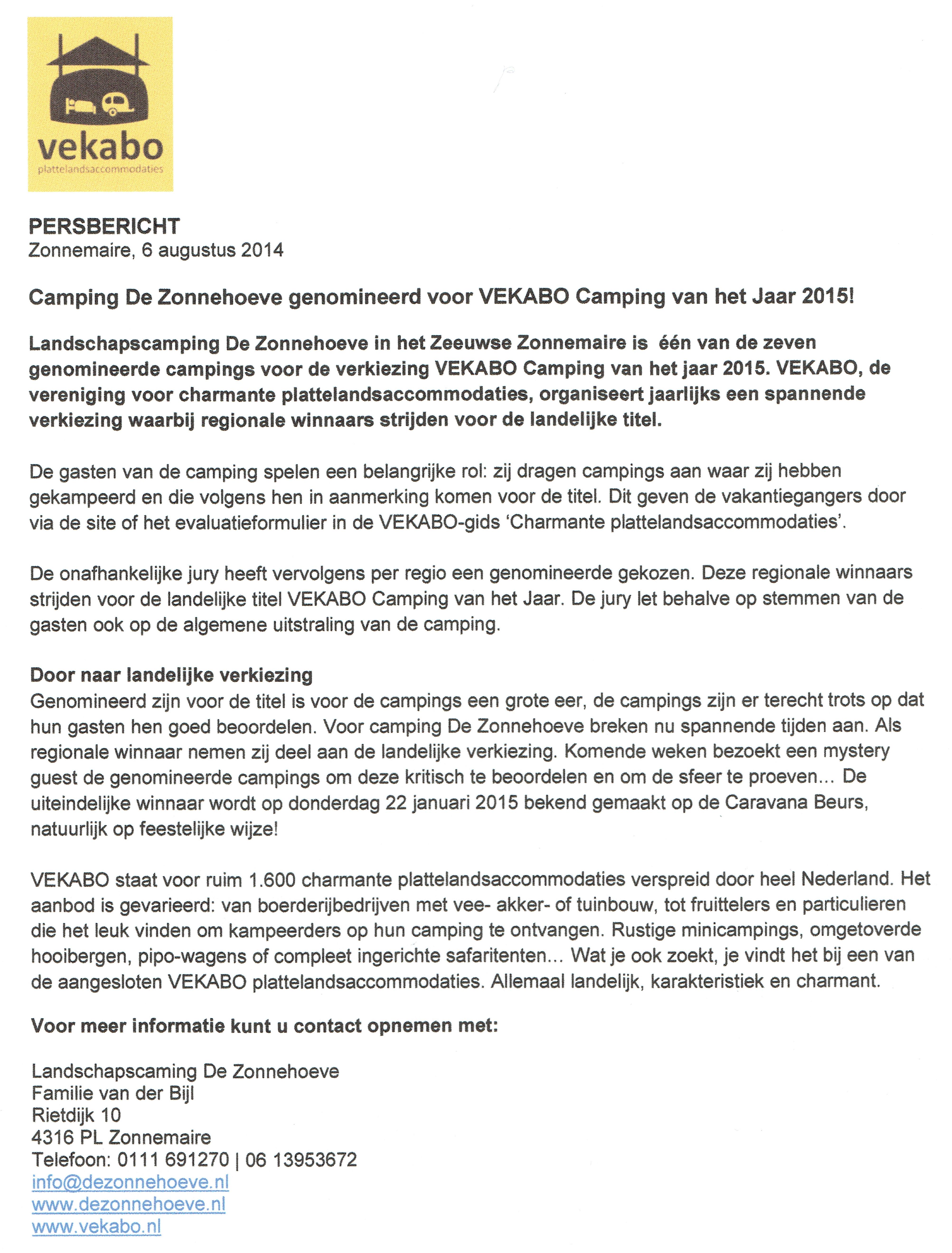 Vekabo persbericht Genomineerde Camping van het Jaar 2015